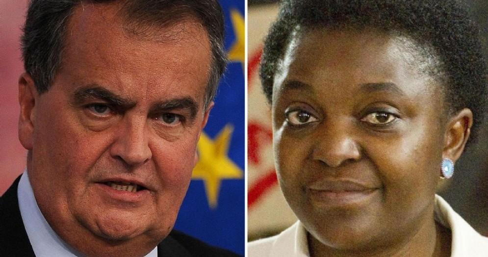 Nella combo il ministro alla cooperazione internazionale e integrazione del governo Letta, Cecile Kyenge, e l'allora vice presidente del Senato, Roberto Calderoli