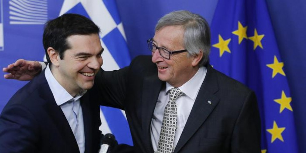 Jean Claude Juncker con il Premier greco, Alexis Tsipras
