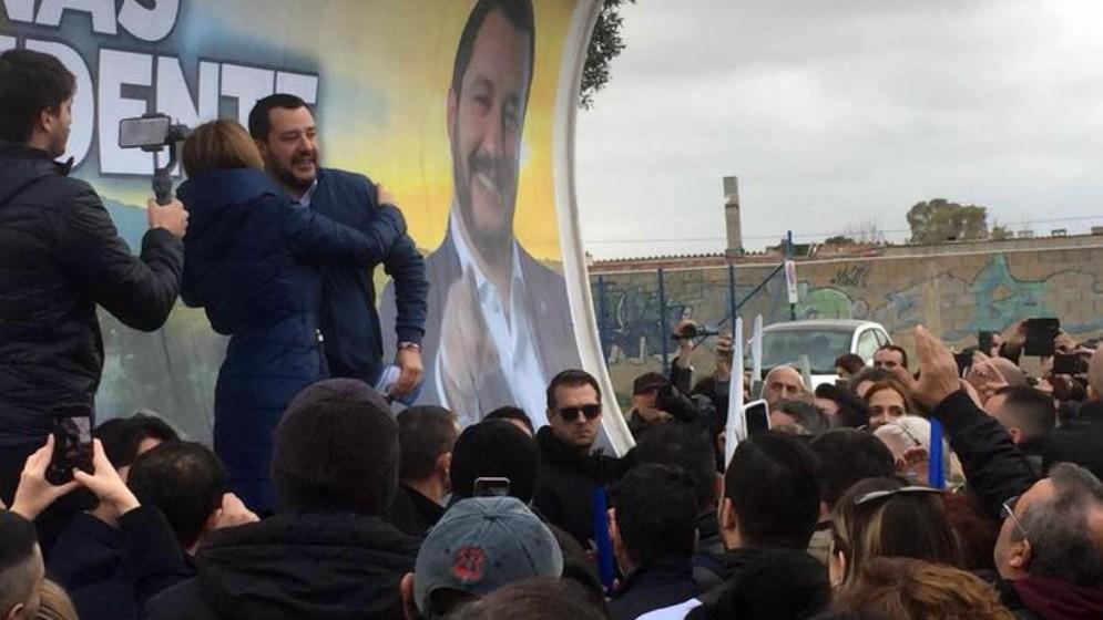 Matteo Salvini durante un comizio
