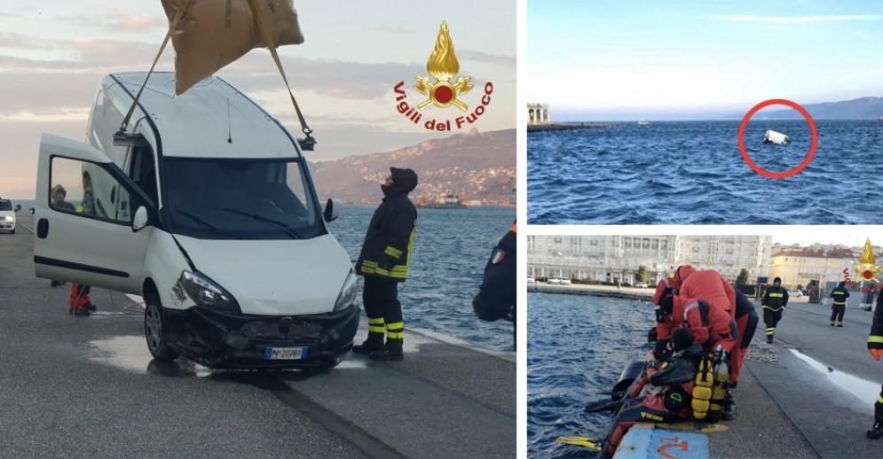 Incredibile a Trieste: furgone affonda davanti a piazza Unità d'Italia