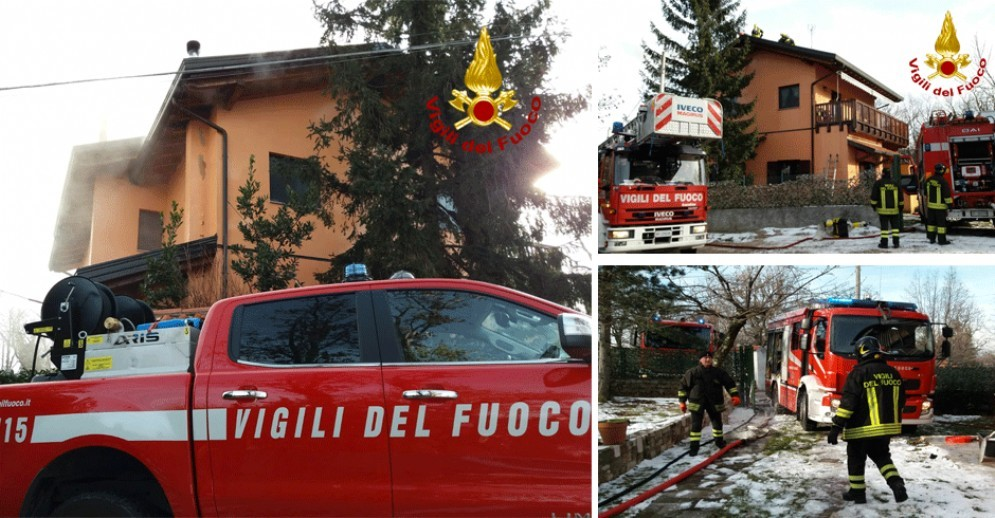 Incendio a Opicina, prende fuoco tetto di una casa: intervengono i vigili del fuoco