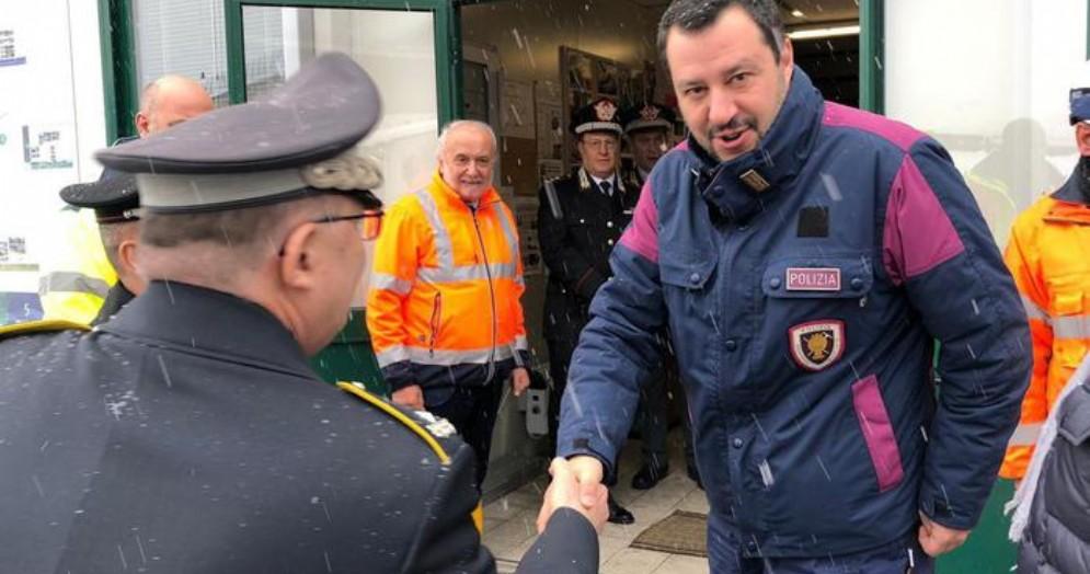 Il Ministro dell'Interno Matteo Salvini, in visita a Chiomonte