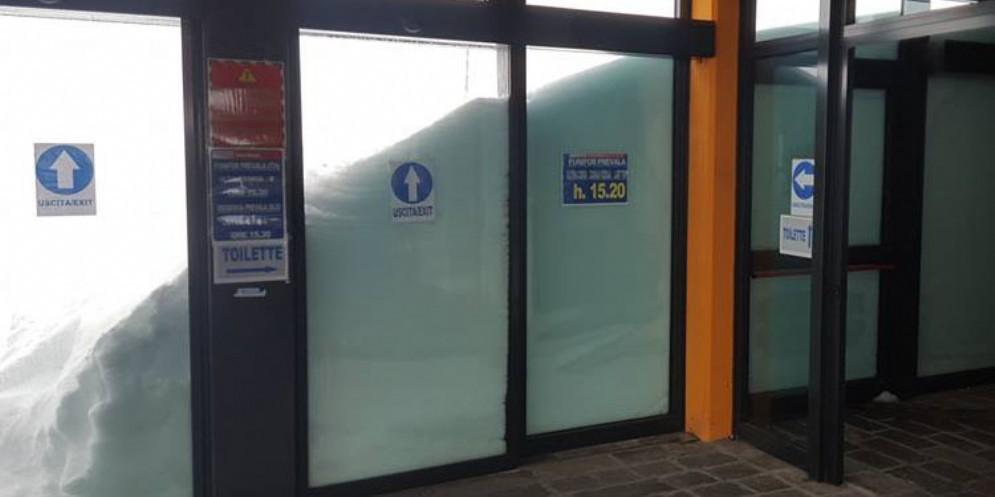 La neve alla stazione di arrivo della Funifor Prevala
