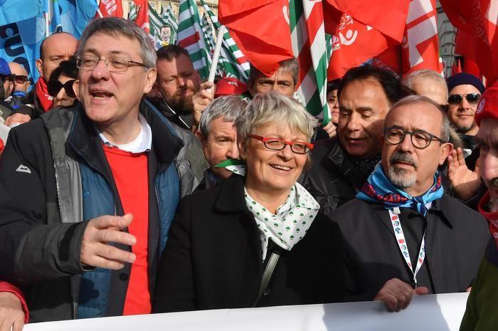 Maurizio Landini (CGIL), Annamaria Furlan (CISL) e Carmelo Barbagallo (UIL)