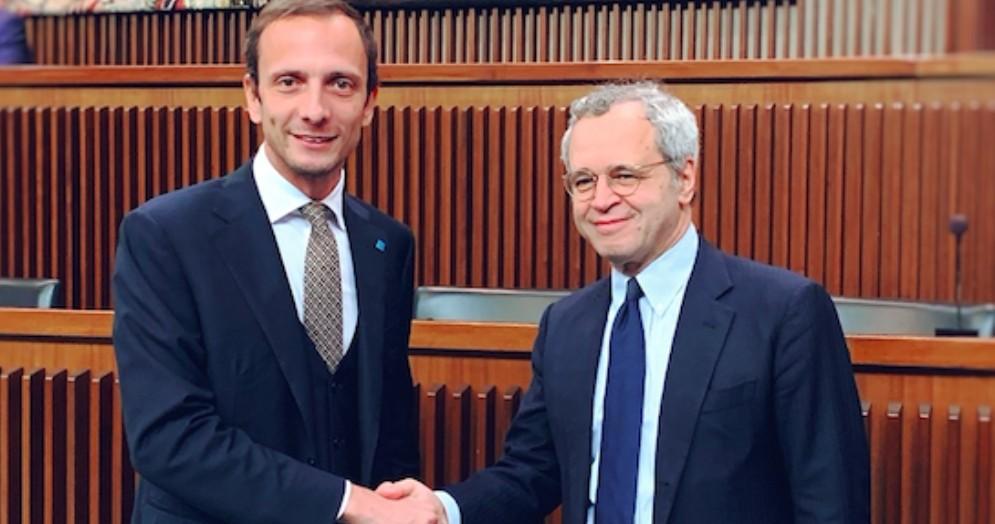 Massimiliano Fedriga e Enrico Mentana