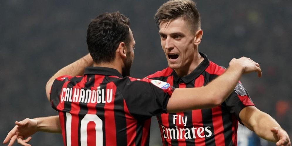 Calhanoglu e Piatek, due dei protagonisti della vittoria rossonera contro l'Empoli