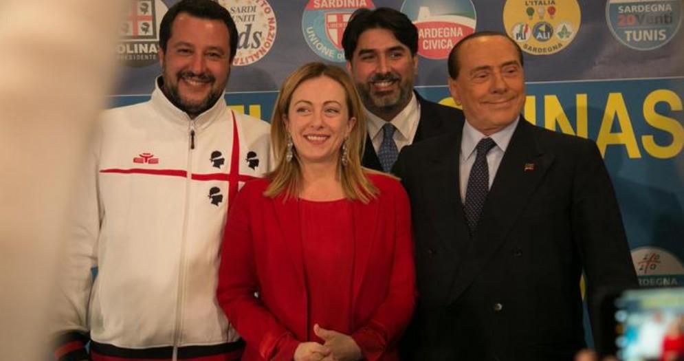 Matteo Salvini, Giorgia Meloni, Christian Solinas e Silvio Berlusconi