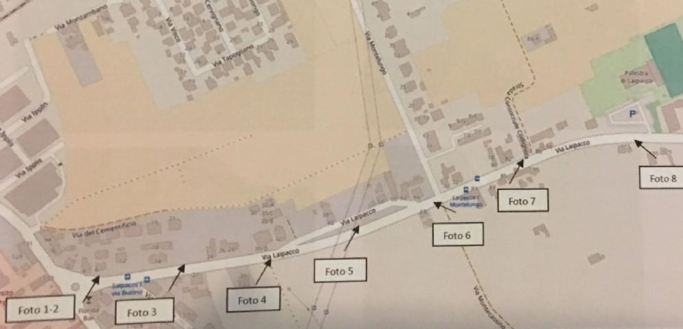 L'area dove sorgerà la pista ciclabile