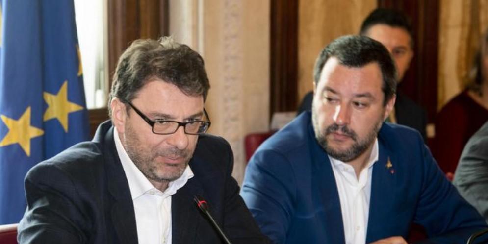 Il Sottosegretario Giancarlo Giorgetti con il vicepremier, Matteo Salvini