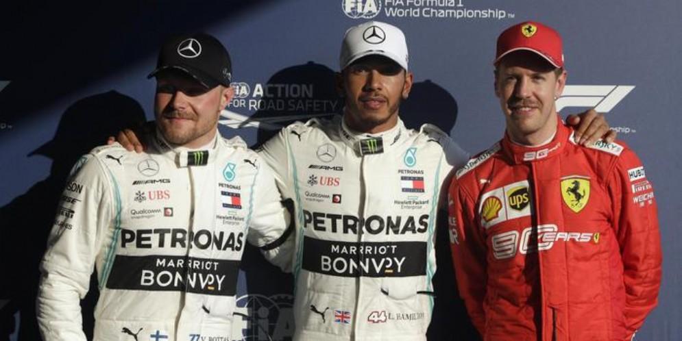 Bottas (2°), Hamilton (1°) e Vettel (3°) nelle qualifiche del GP di Australia 2019