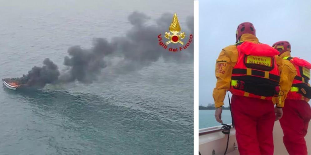 Imbarcazione va a fuoco al largo di Lignano: salvi i due ragazzi a bordo
