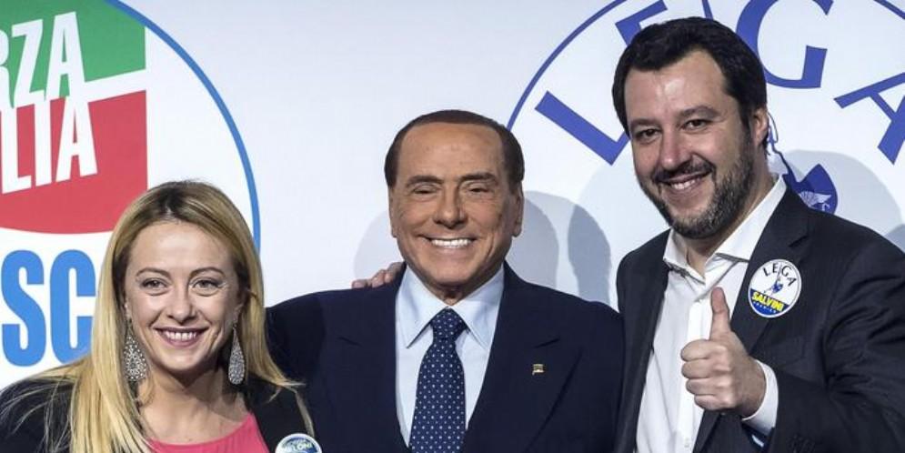 Giorgia Meloni, Silvio Berlusconi e Matteo Salvini
