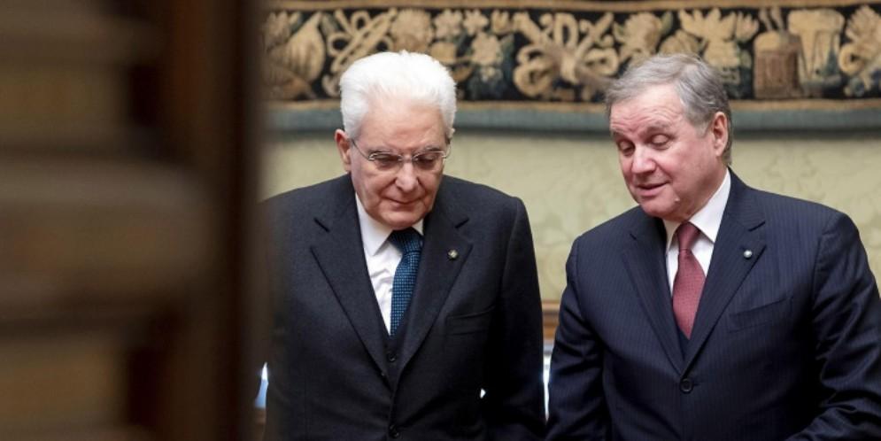 Il Presidente Sergio Mattarella con il Governatore di Banca d'Italia, Ignazio Visco