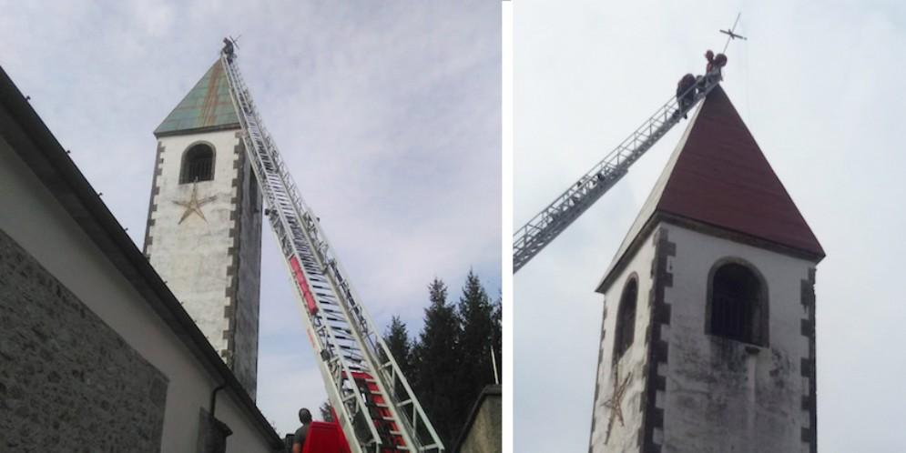 Croce del campanile pericolante: intervento dei vigili del fuoco
