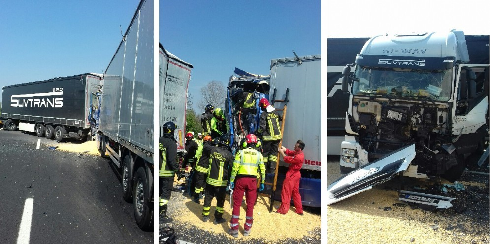 Tamponamento tra mezzi pesanti: chiusa l'A4 tra Villesse e Palmanova