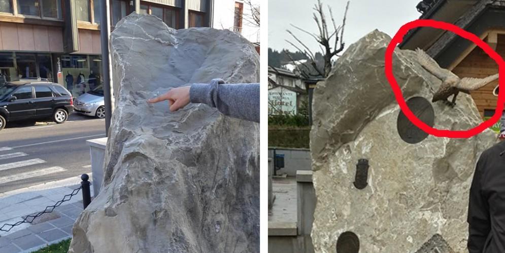 Vandali in azione al monumento degli alpini: rubata l'aquila in bronzo