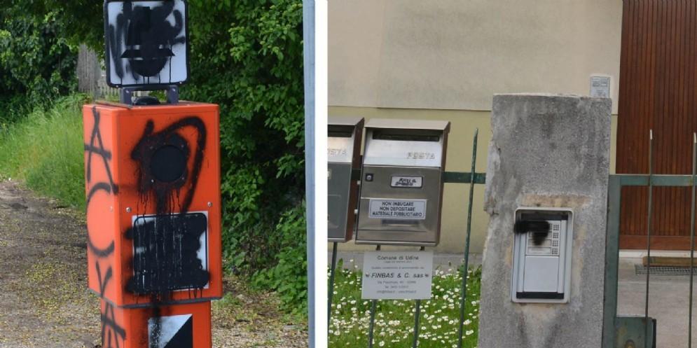 Vandali in azione in via Buttrio: imbrattati Velo-Ok e campanelli delle case