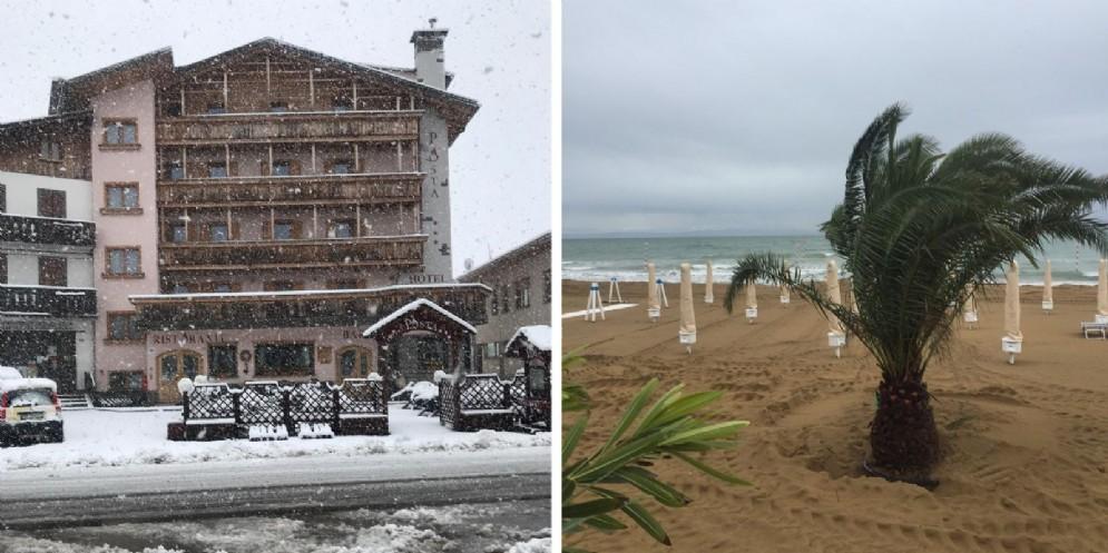 Fvg nella morsa del maltempo: pioggia, neve e mareggiate