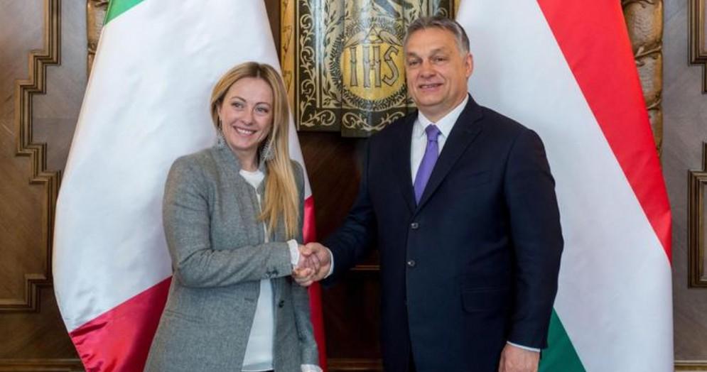 Giorgia Meloni con il Presidente ungherese, Viktor Orban