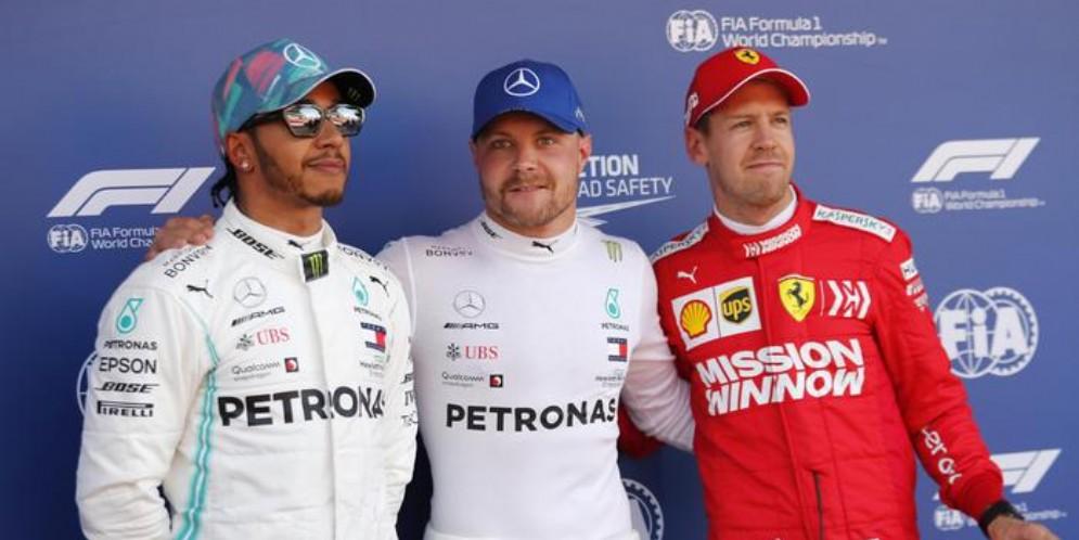 Lewis Hamilton, Valtteri Bottas e Sebastian Vettel