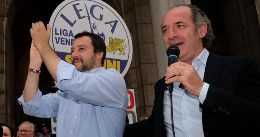 Matteo Salvini con il presidente della Regione Veneto, Luca Zaia
