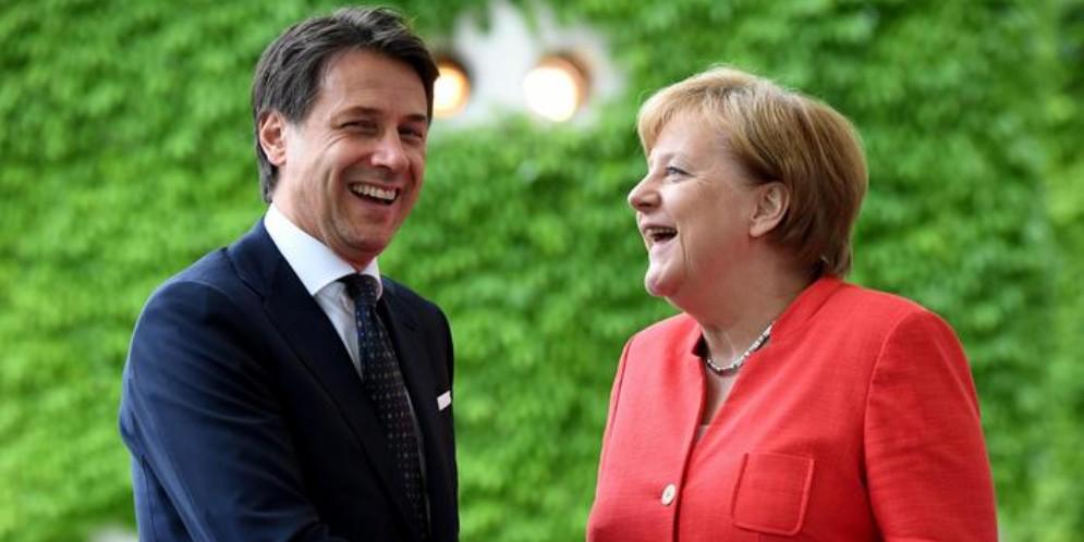 Il Premier Giuseppe Conte con la Cancelliera, Angela Merkel