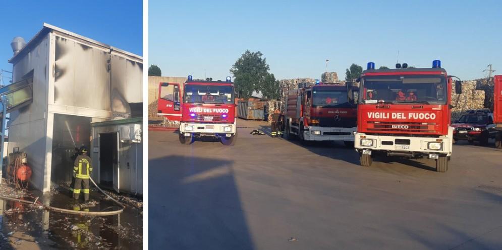Va a fuoco un macchinario alla Camilot recycling