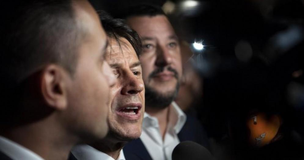 Luigi Di Maio con il Premier Giuseppe Conte e il leader della Lega, Matteo Salvini