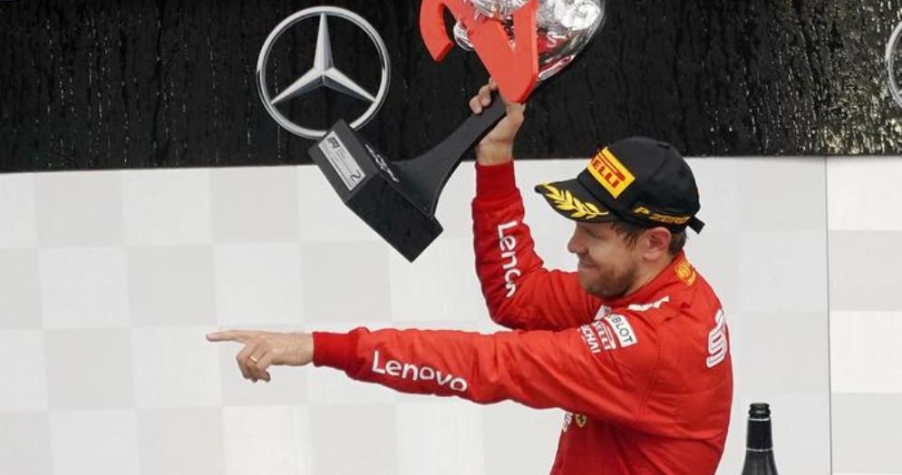 Sebastian Vettel sul podio del Gp di Germania 2019