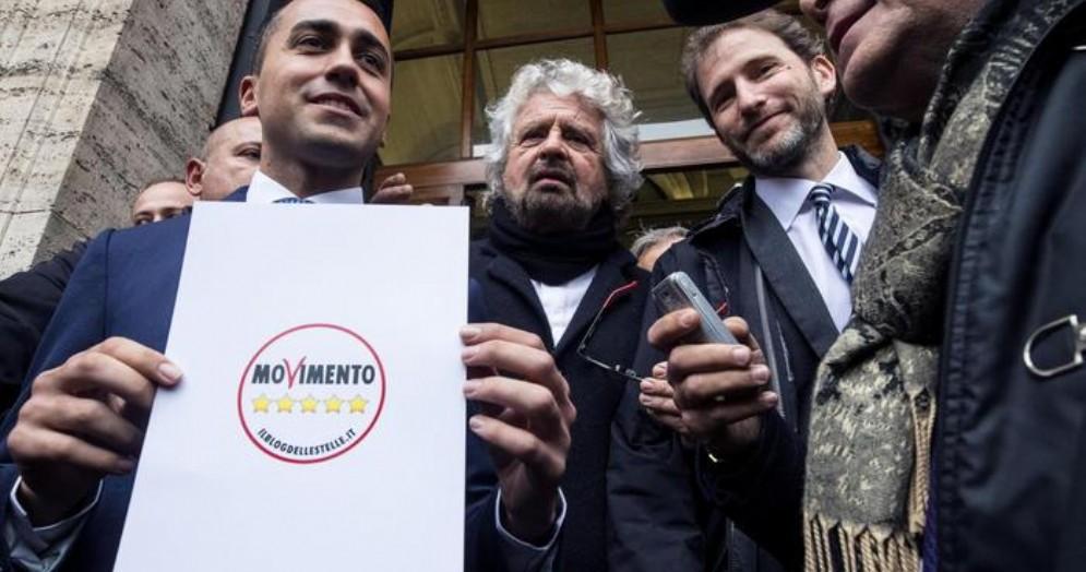 Luigi Di Maio con Beppe Grillo e Davide Casaleggio
