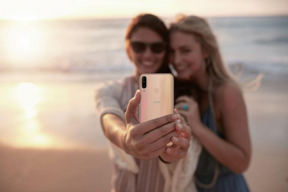 Selfie con tramonto