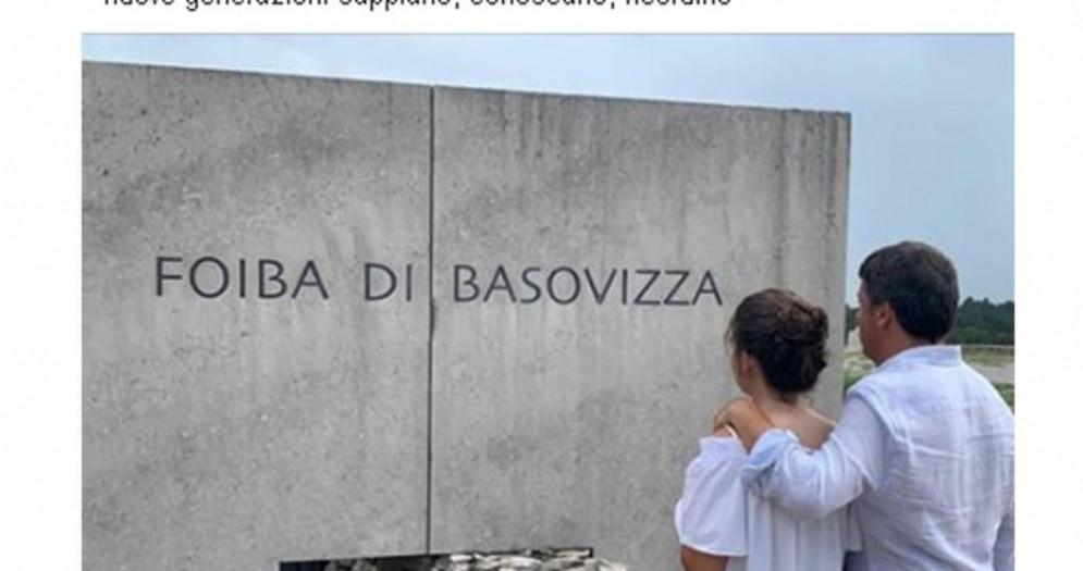 Foibe, Matteo Renzi in visita con la famiglia a Basovizza