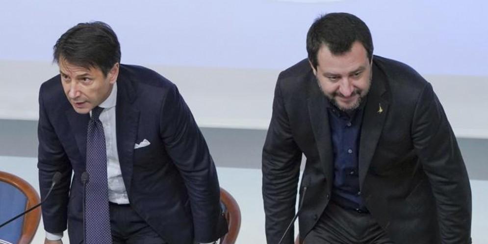 Il Presidente del Consiglio, Giuseppe Conte con il Ministro dell'Interno, Matteo Salvini