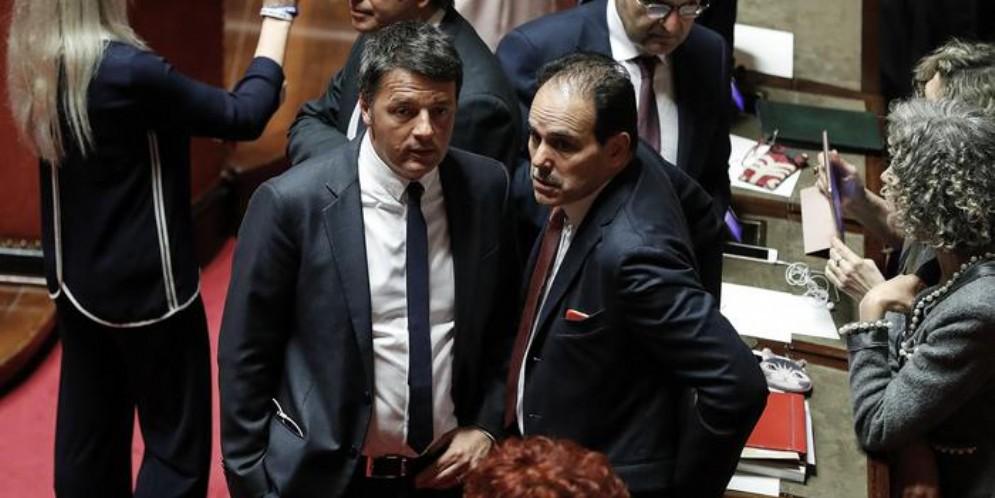 Matteo Renzi con il Presidente dei Senatori del PD, Marcucci