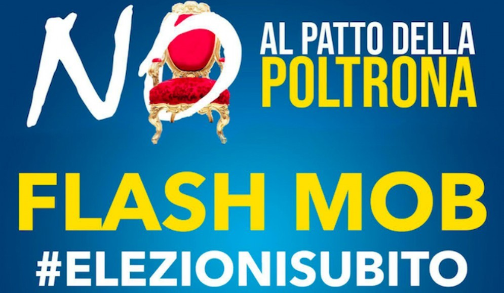 Governo giallorosso: flash mob di Fratelli d'Italia in piazza Libertà