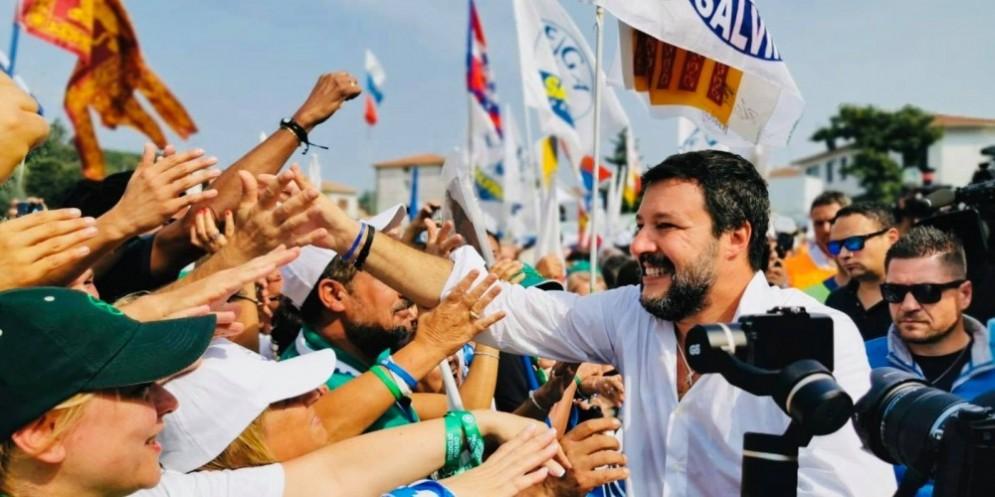 Matteo Salvini ringrazia il popolo di Pontida