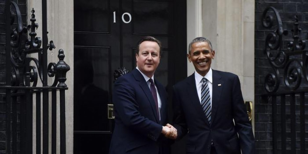 L'ex Premier britannico, David Cameron con il Presidente degli Stati Uniti, Barack Obama