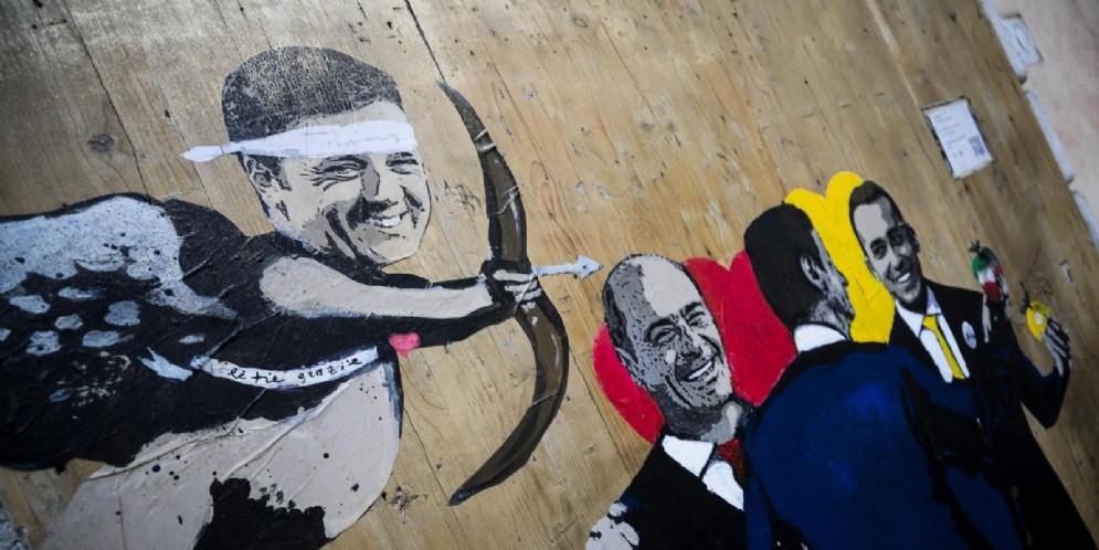 Il murales comparso in piazza Capizucchi sul nuovo governo Conte bis