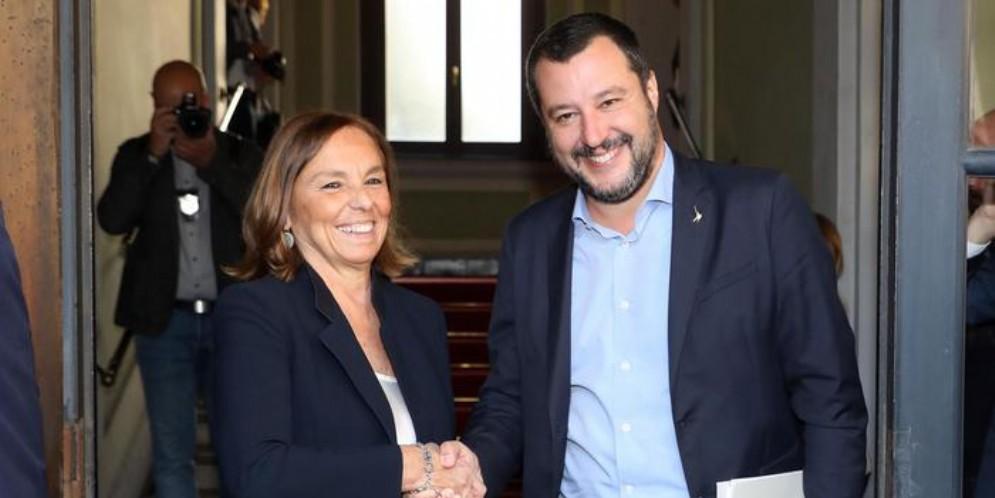 Il Ministro Luciana Lamorgese con il leader della Lega, Matteo Salvini
