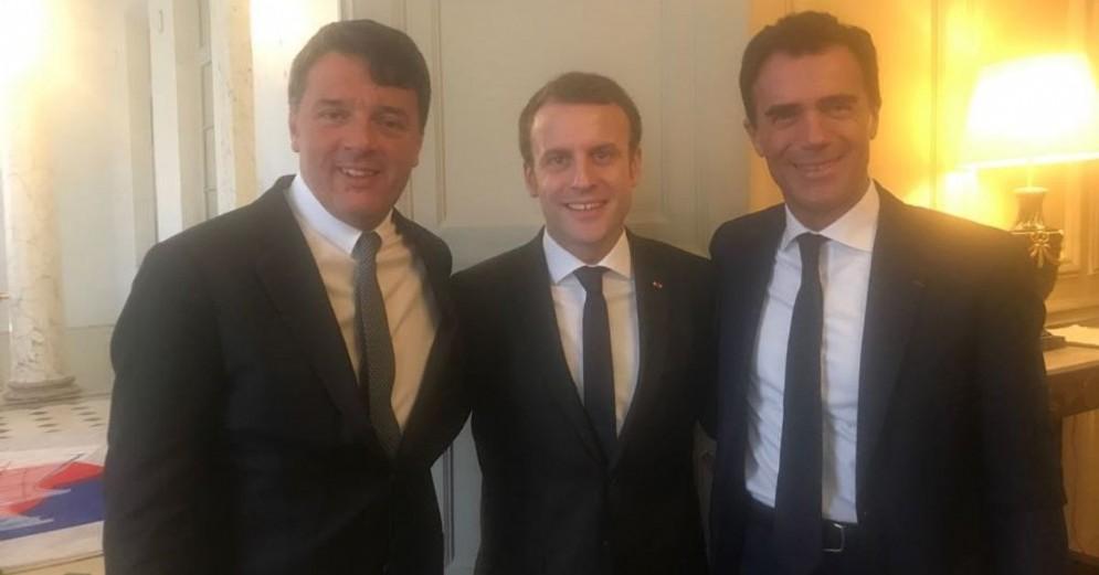 Matteo Renzi, Emmanuel Macron e Sandro Gozi