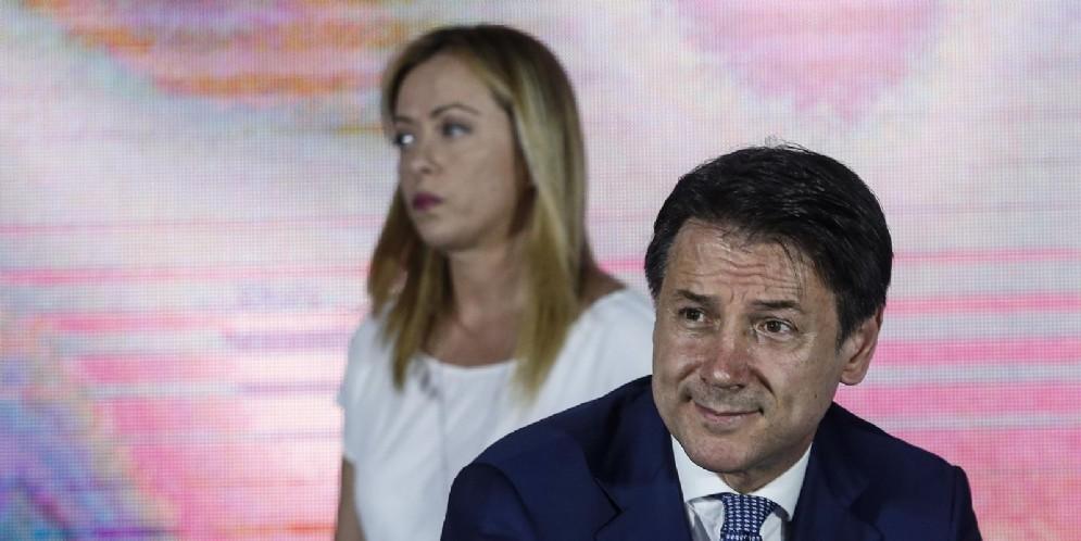 Giorgia Meloni e Giuseppe Conte ad Atreju 2019