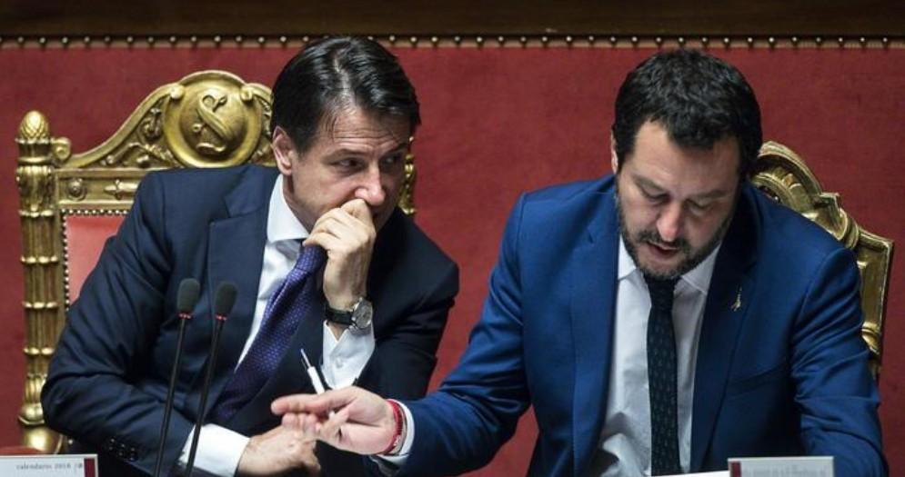Il Premier Giuseppe Conte con l'ex Ministro dell'Interno Matteo Salvini