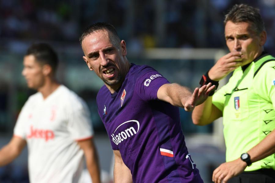 Franck Ribery con la maglia della Fiorentina
