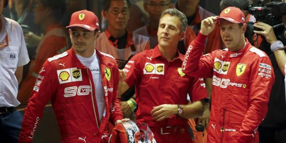Charles Leclerc con Sebastian Vettel