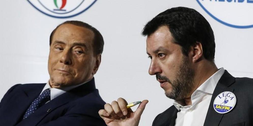 Silvio Berlusconi con il leader della Lega, Matteo Salvini