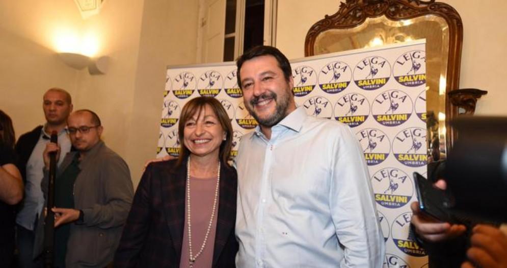 Matteo Salvini con il neo Presidente umbro, Donatella Tesei