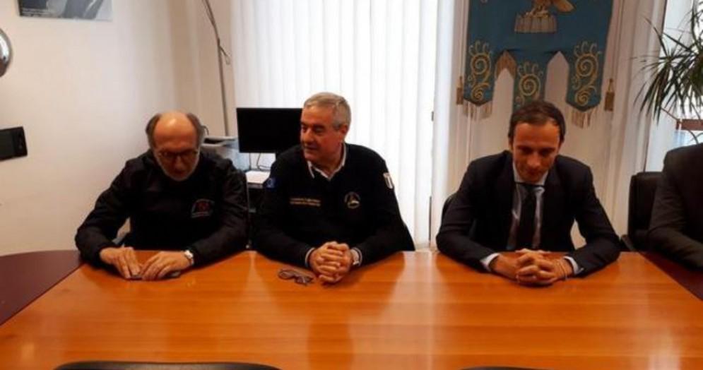 Il capo della Protezione Civile, Angelo Borrelli con l'assessore Riccardi e il Presidente della Regione FVG, Massimiliano Fedriga