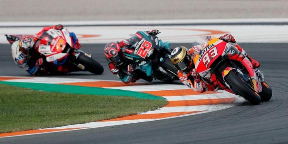 Marc Marquez, Fabio Quartararo e Jack Miller durante il GP di Valencia