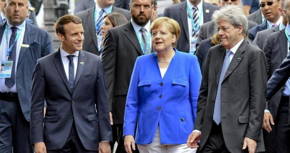 Emmanuel Macron, Angela Merkel e Paolo Gentiloni