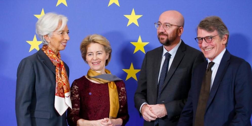 Christine Lagarde, Ursula von der Leyen, Charles Michel e David Sassoli